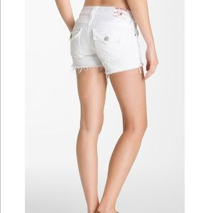 True Religion Keira White Cutoff Jean Shorts